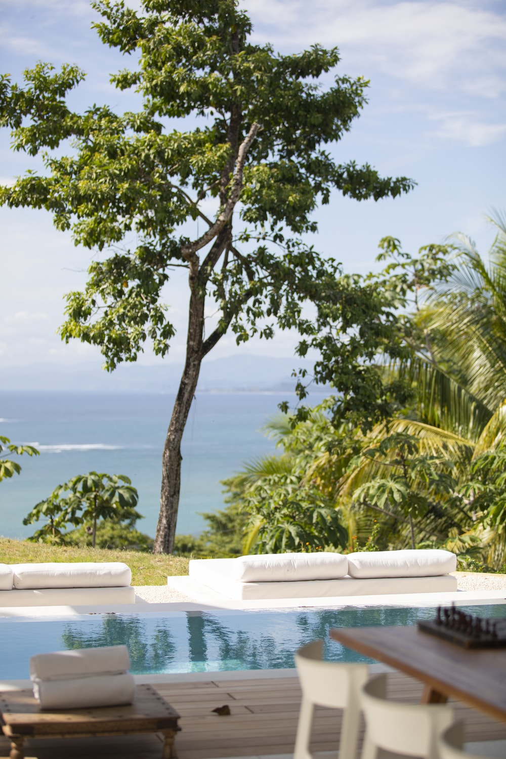 This is a closer look at the view across from the daybeds of the pool with tall tree, shrubs and overlooking views of the sea.