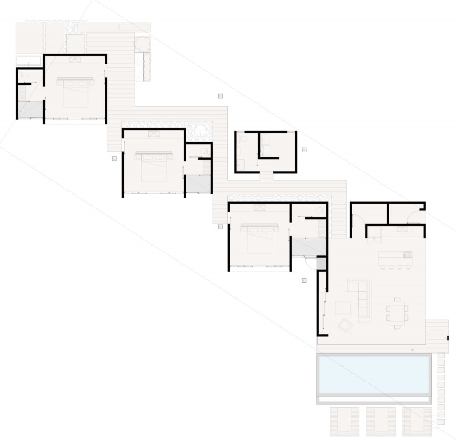 This is an illustrative representation of the house's first level floor plan.