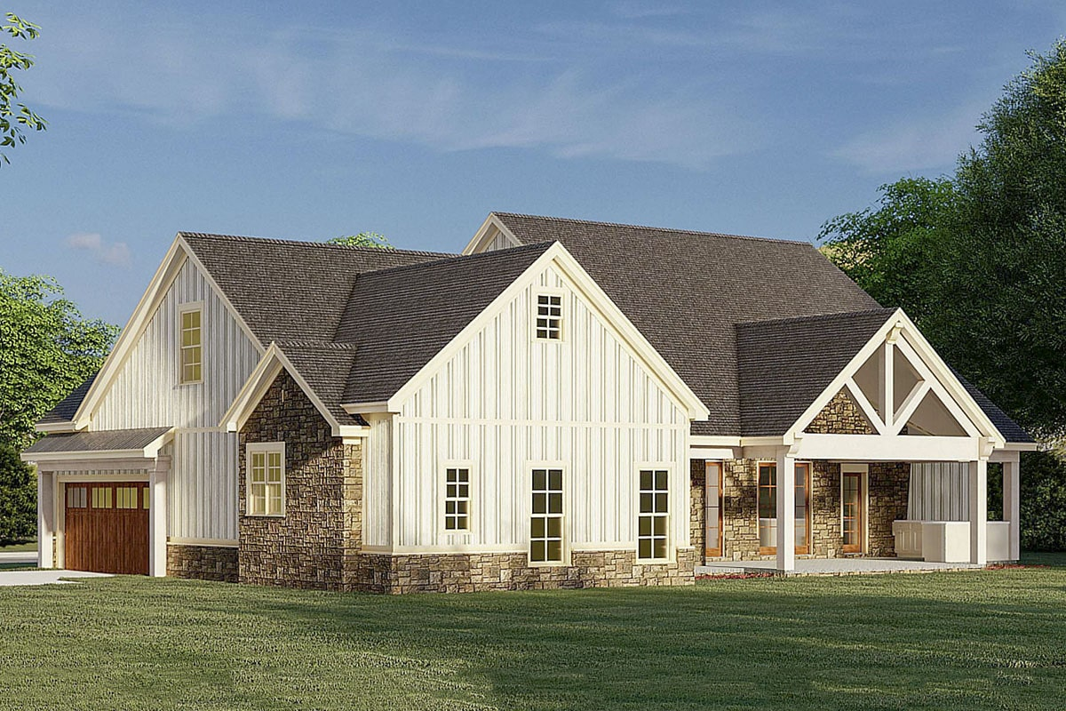 Left-rear rendering of the 3-bedroom two-story modern farmhouse.