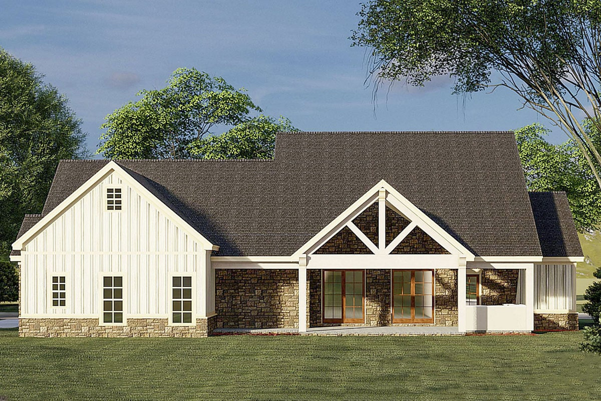 Rear rendering of the 3-bedroom two-story modern farmhouse.