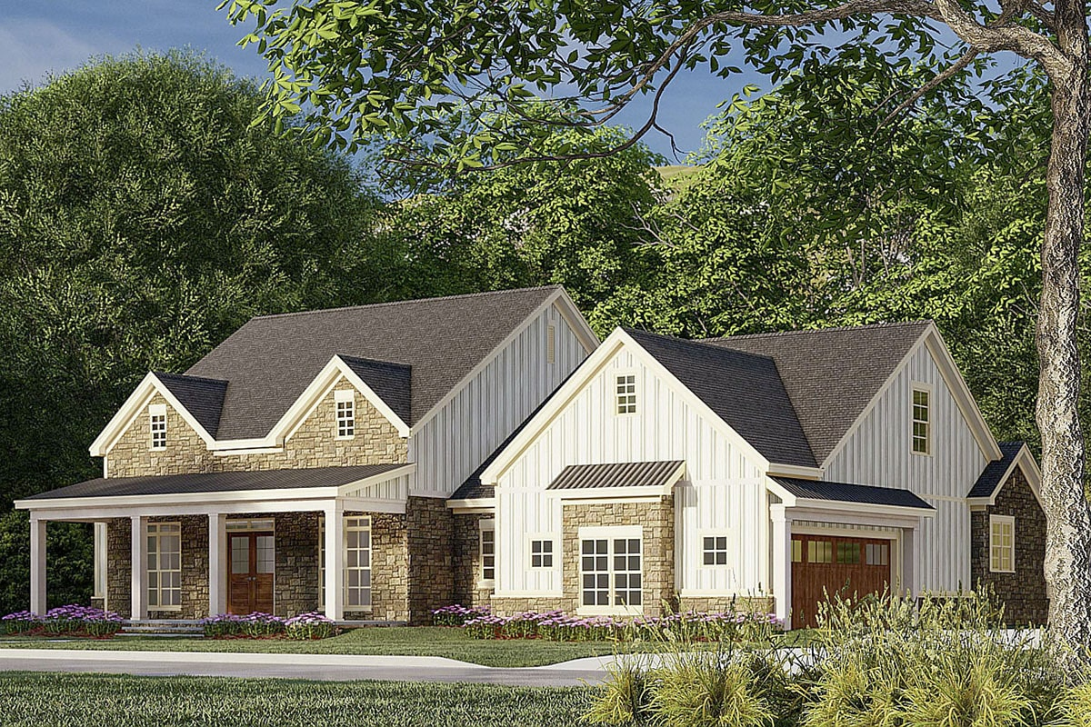 Front-right rendering of the 3-bedroom two-story modern farmhouse.