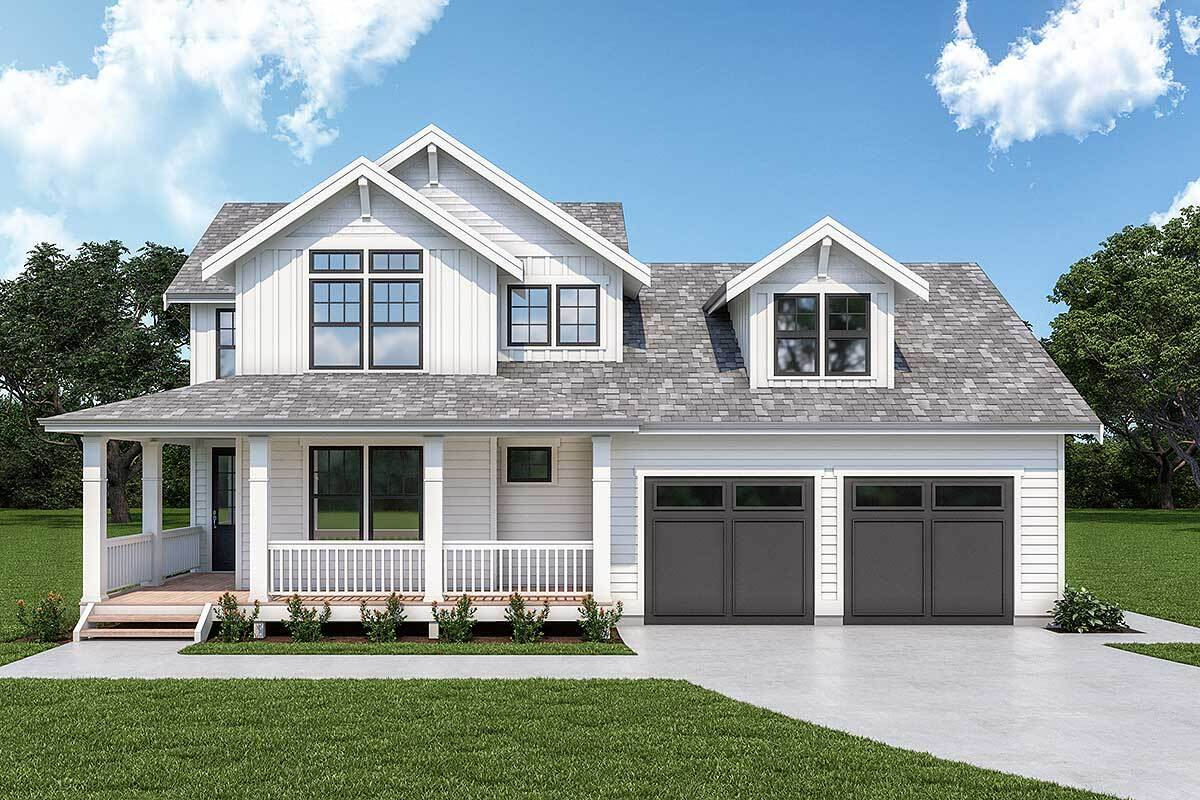 3-Bedroom Two-Story New American Home with Bonus Room and L-Shaped Front Porch