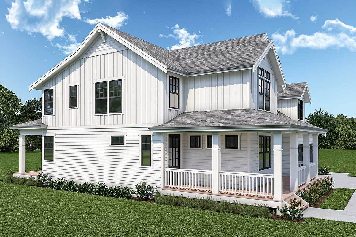 Left rendering of the 3-bedroom two-story New American home.