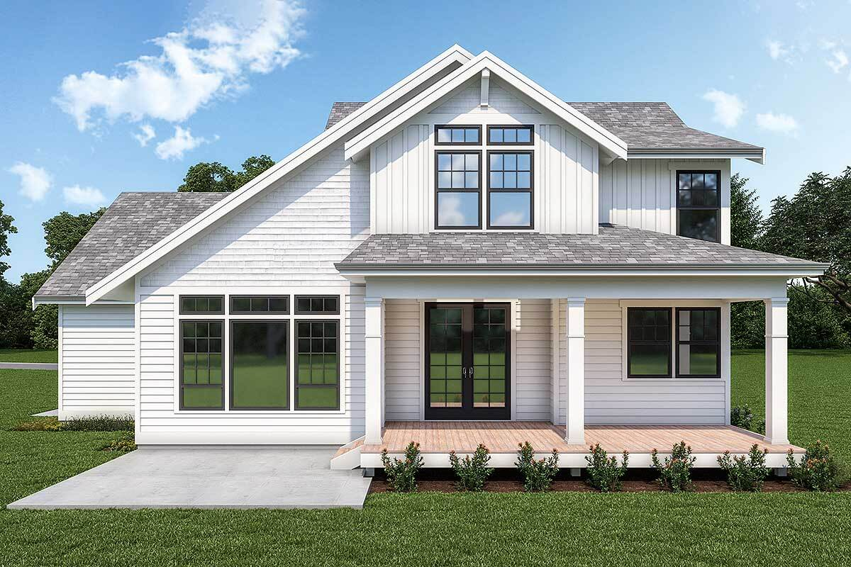 Rear rendering of the 3-bedroom two-story New American home.