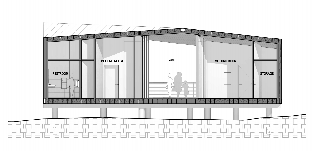 This is an illustration of the house elevation featuring the sections of the house.