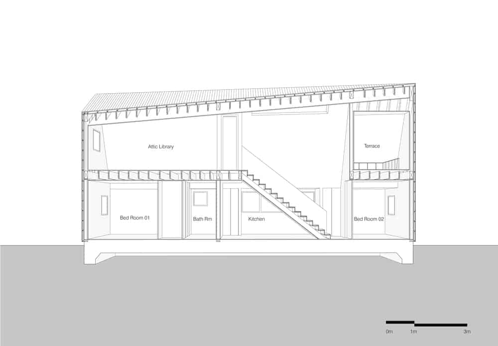 This is an illustration of the longitudinal section of the house showcasing the interior sections.