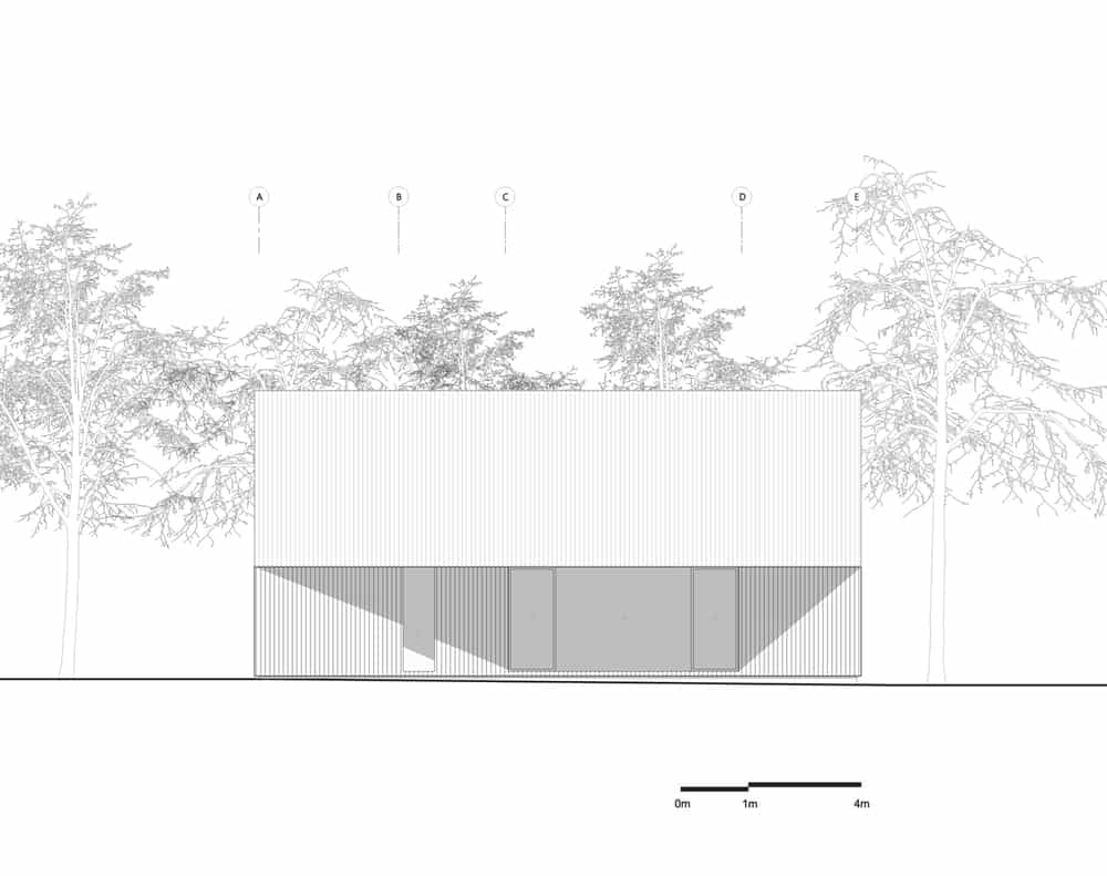 This is an illustration of the south elevation of the house showcasing the exterior wall and windows.