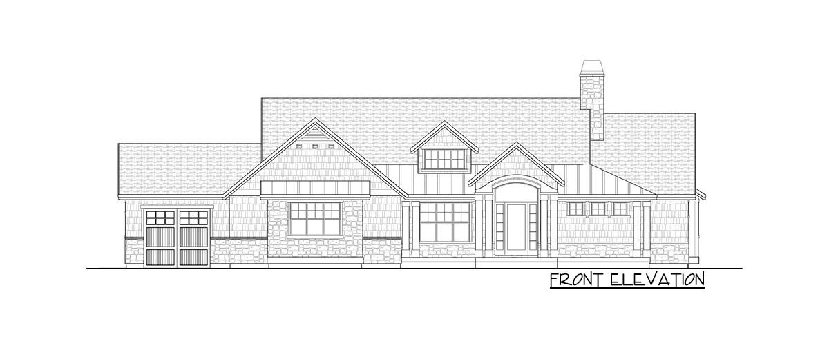 Front elevation sketch of the 4-bedroom single-story New American home.