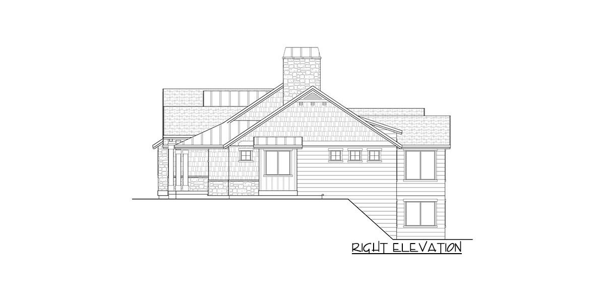 Right elevation sketch of the 4-bedroom single-story New American home.