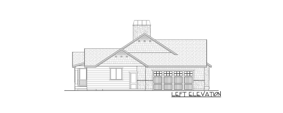 Left elevation sketch of the 4-bedroom single-story New American home.