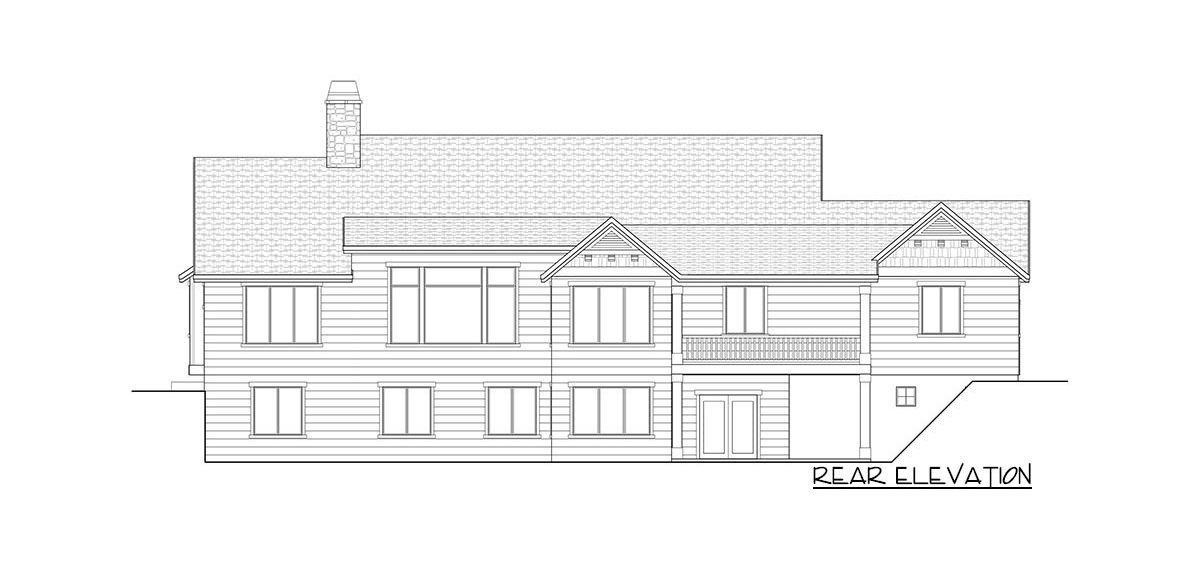 Rear elevation sketch of the 4-bedroom single-story New American home.