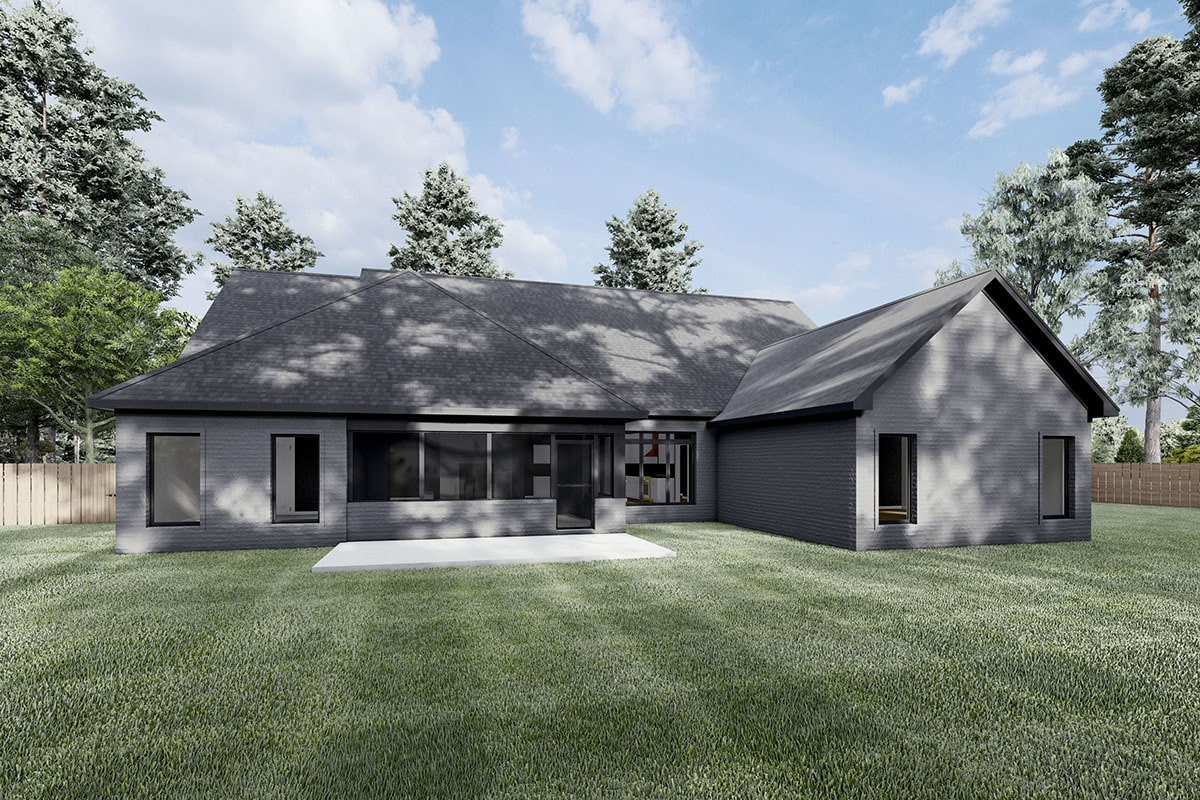Rear rendering of the 4-bedroom single-story Northwest New American home.