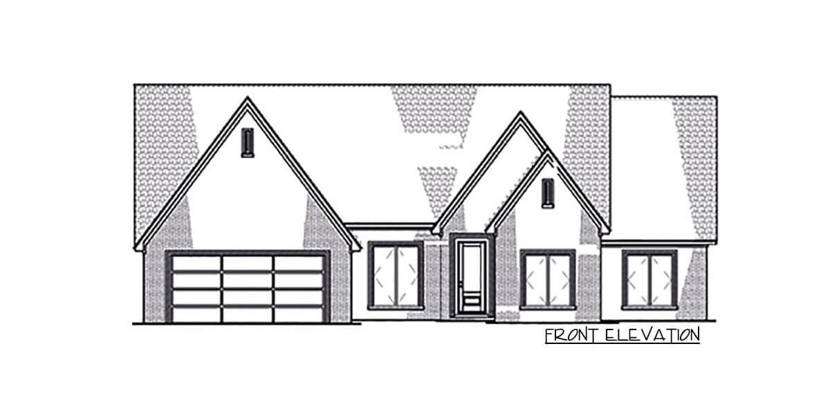 Front elevation sketch of the 4-bedroom single-story Northwest New American home.