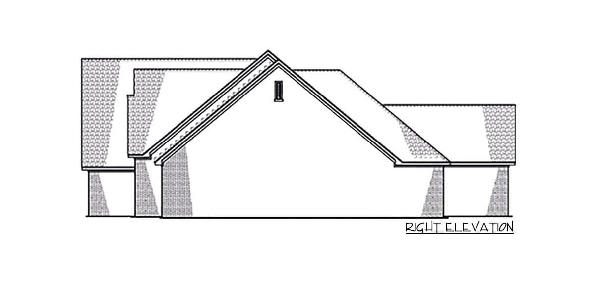 Right elevation sketch of the 4-bedroom single-story Northwest New American home.