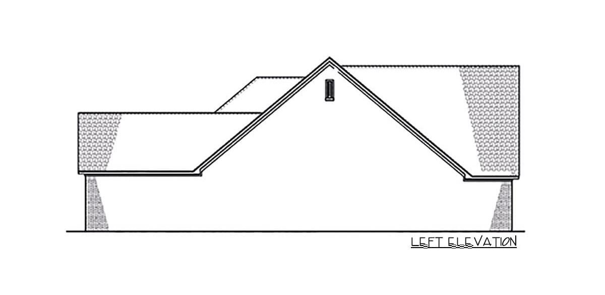 Left elevation sketch of the 4-bedroom single-story Northwest New American home.