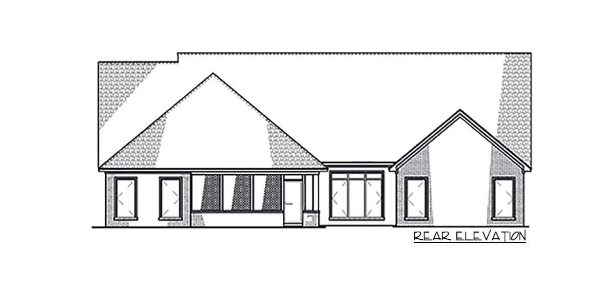 Rear elevation sketch of the 4-bedroom single-story Northwest New American home.