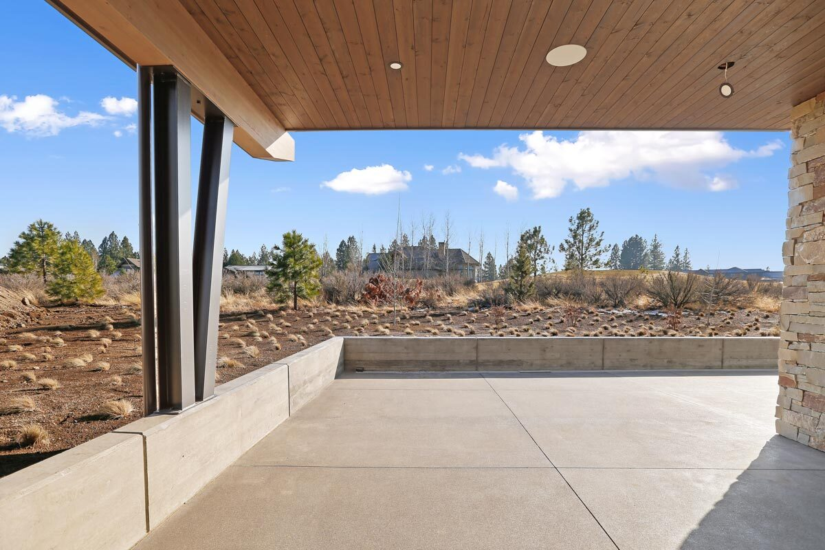 A great view of the outdoor scenery from the covered patio.