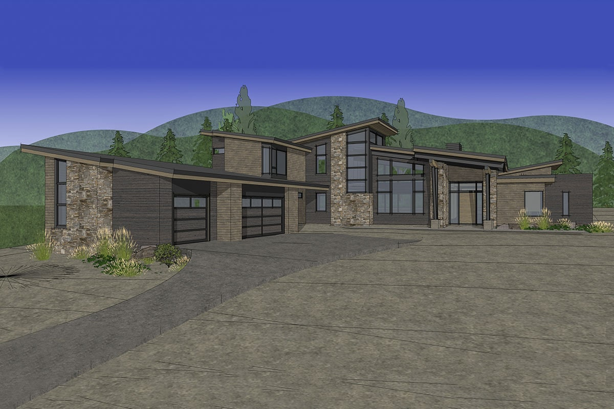 Front rendering of the 4-bedroom two-story mountain contemporary home.