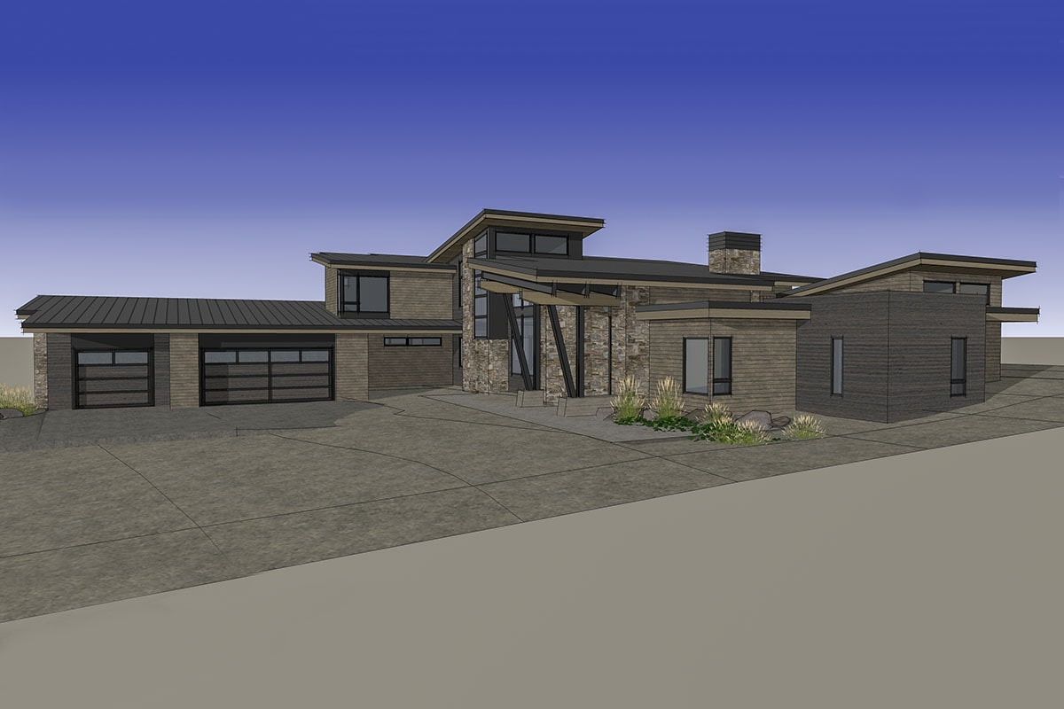 Right rendering of the 4-bedroom two-story mountain contemporary home.