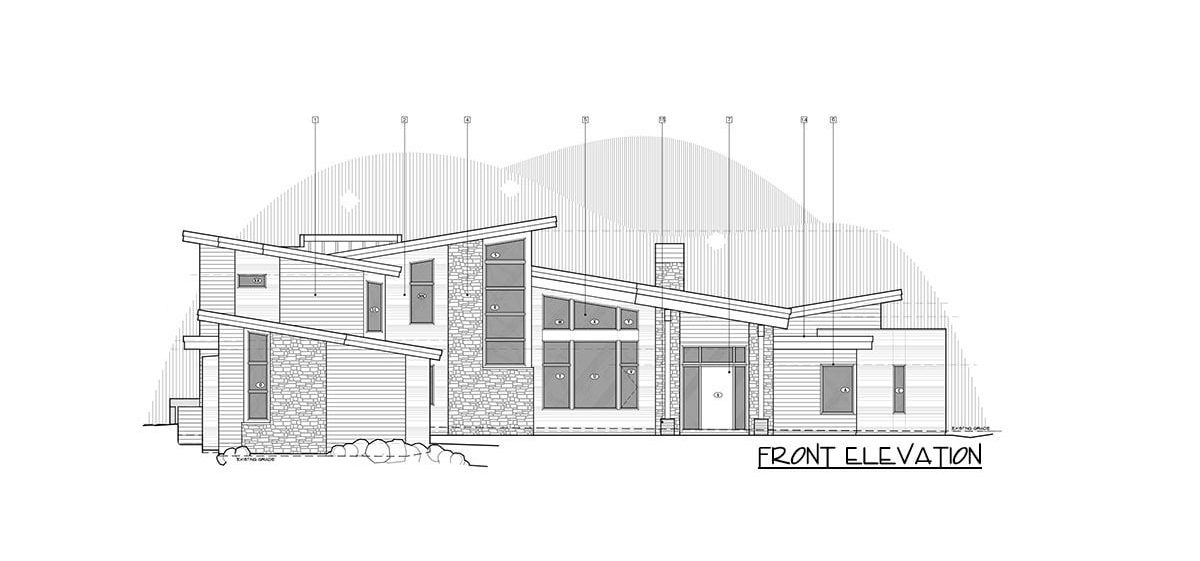 Front elevation sketch of the 4-bedroom two-story mountain contemporary home.
