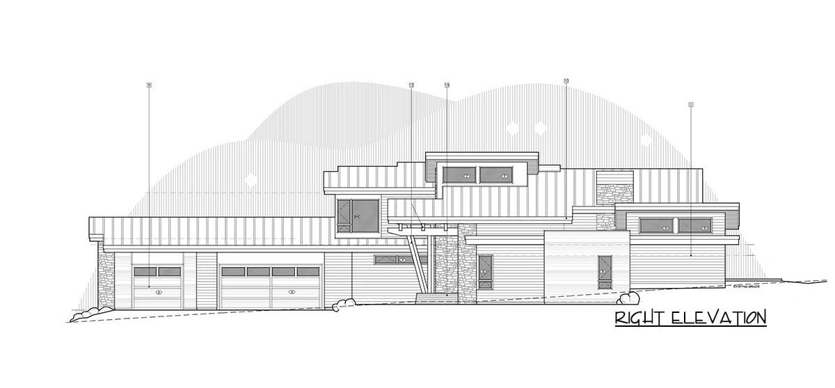 Right elevation sketch of the 4-bedroom two-story mountain contemporary home.