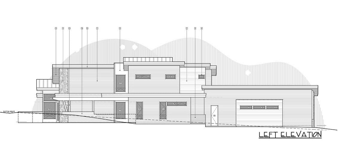Left elevation sketch of the 4-bedroom two-story mountain contemporary home.