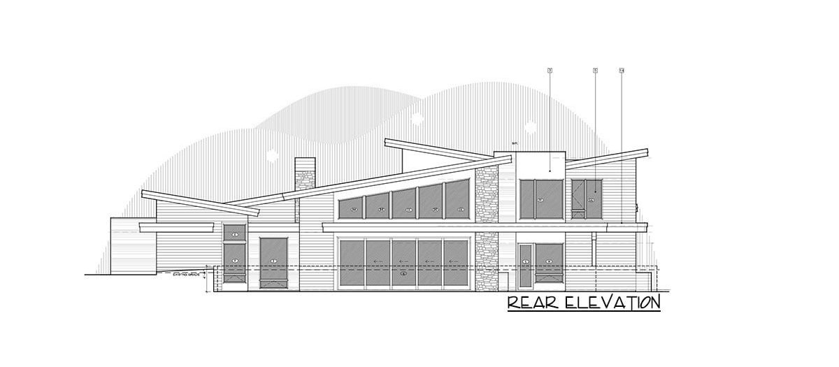 Rear elevation sketch of the 4-bedroom two-story mountain contemporary home.
