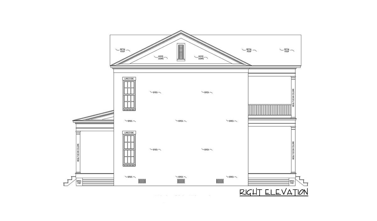 Right elevation sketch of the 4-bedroom two-story Southern traditional home.