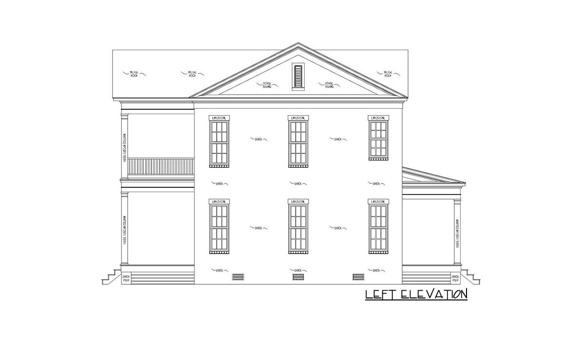 Left elevation sketch of the 4-bedroom two-story Southern traditional home.