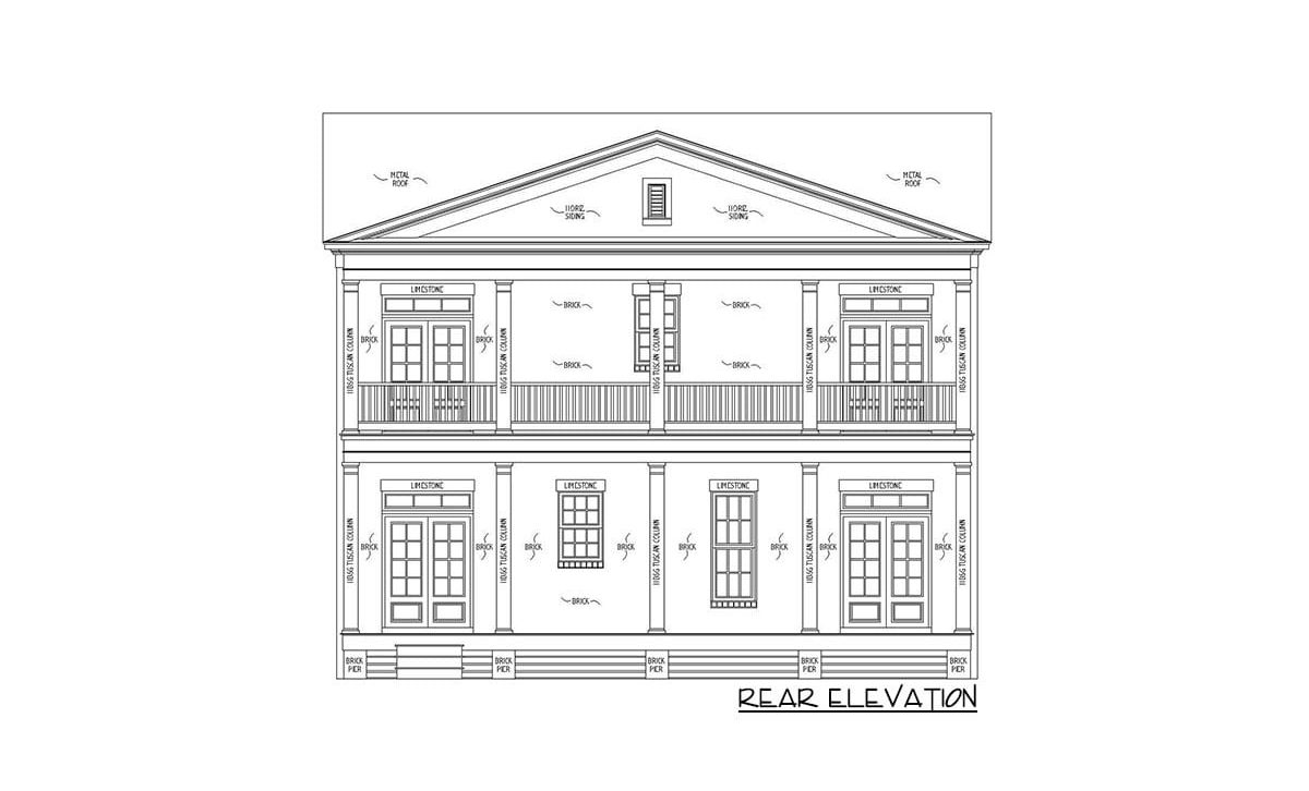 Rear elevation sketch of the 4-bedroom two-story Southern traditional home.