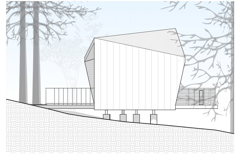 This is an illustration of the house elevation featuring the exterior wall and support of the house.