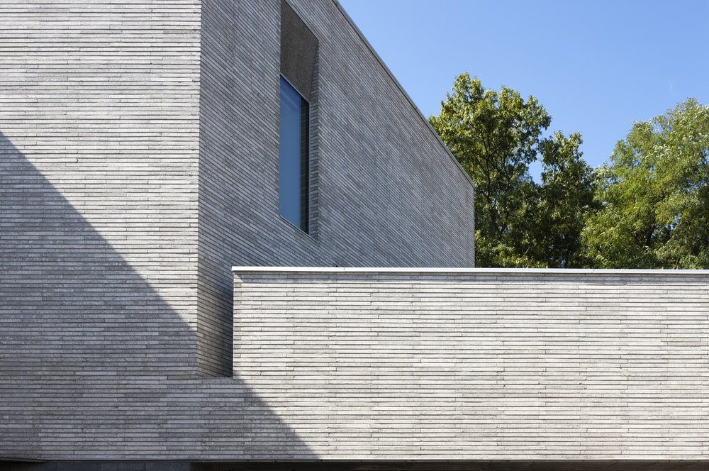 This closer look at the exterior walls of the upper levels showcases the textures and patterns of the walls.