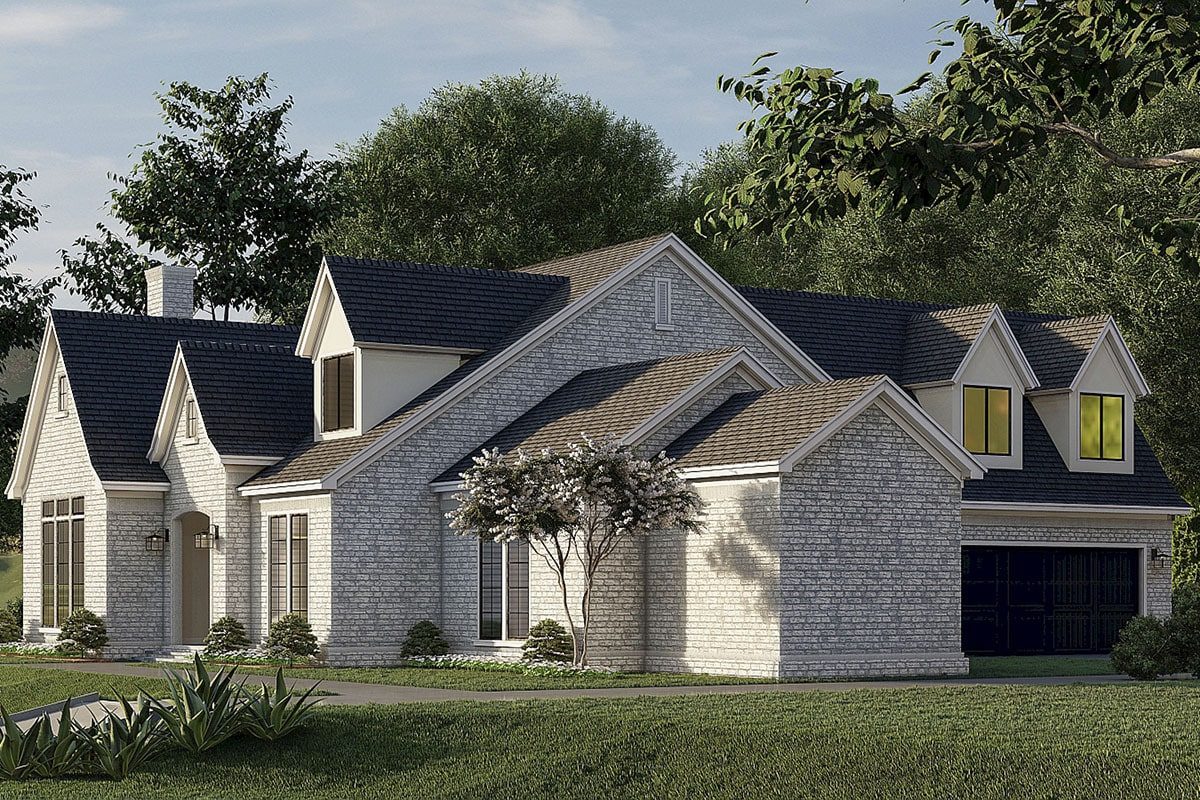 Right rendering of the two-story 5-bedroom two-story French country-inspired home.