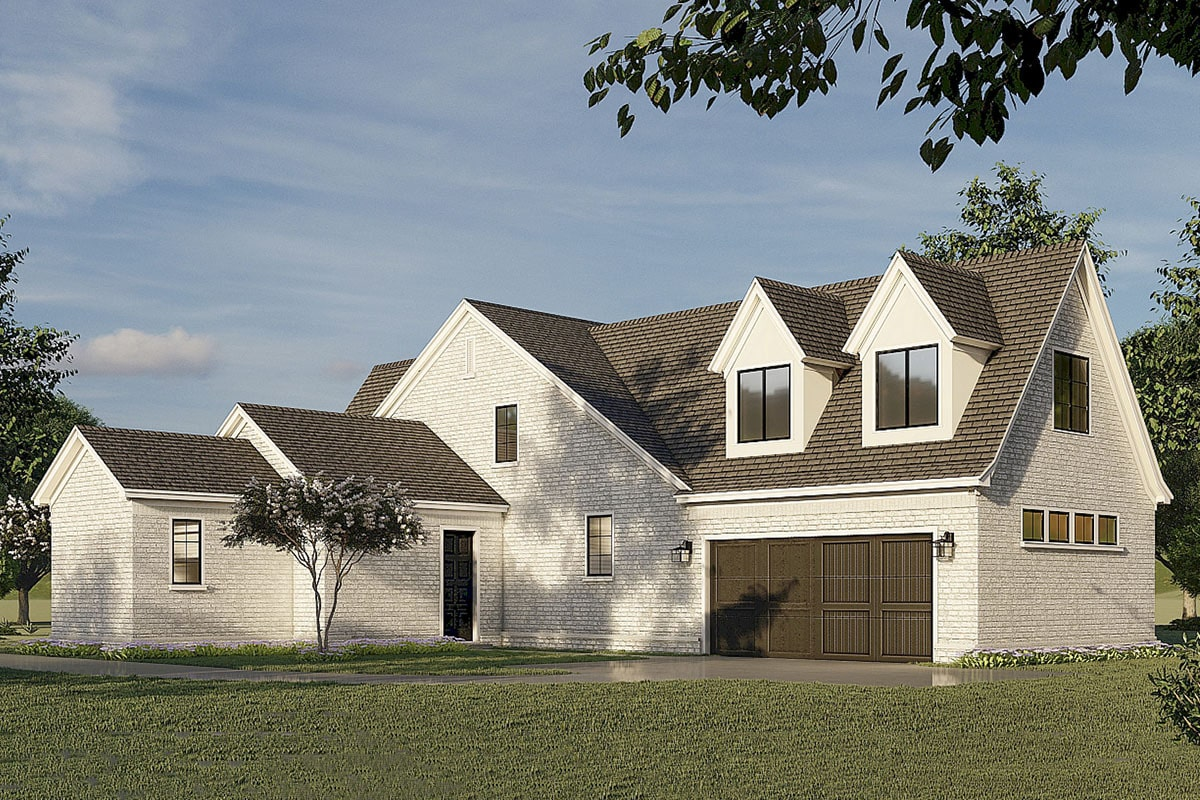 Left rendering of the two-story 5-bedroom two-story French country-inspired home.
