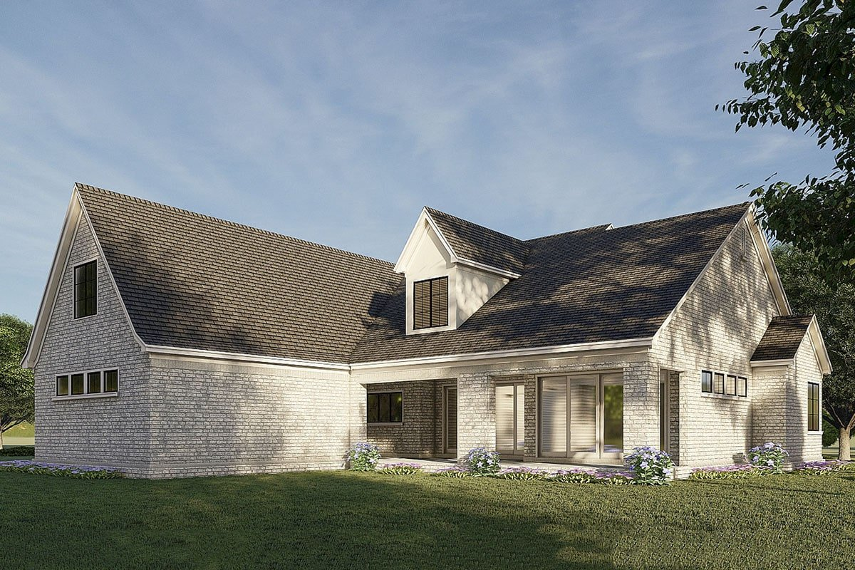 Rear rendering of the two-story 5-bedroom two-story French country-inspired home.