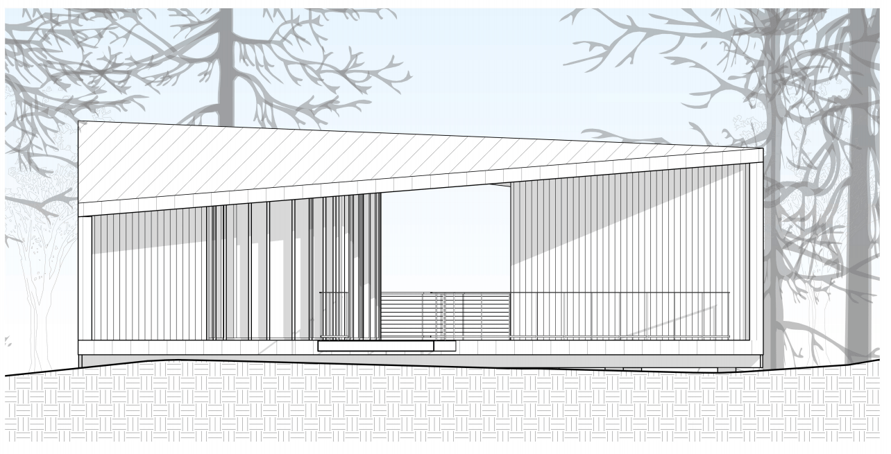 This is an illustration of the house elevation featuring the front section of the house.