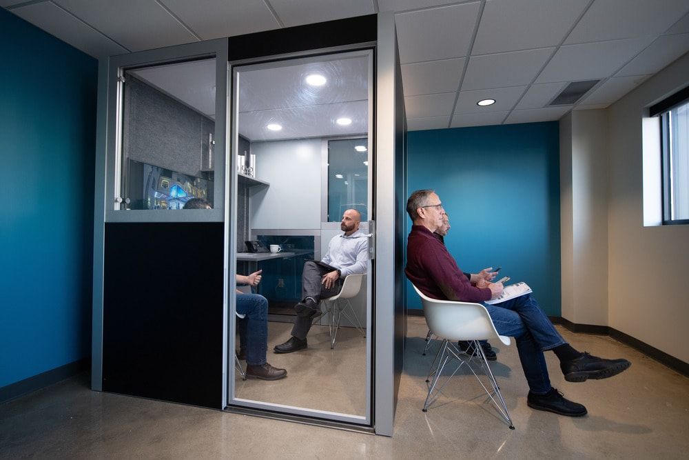 The pod is also perfect for job interviews with soundproof walls and a waiting area outside.