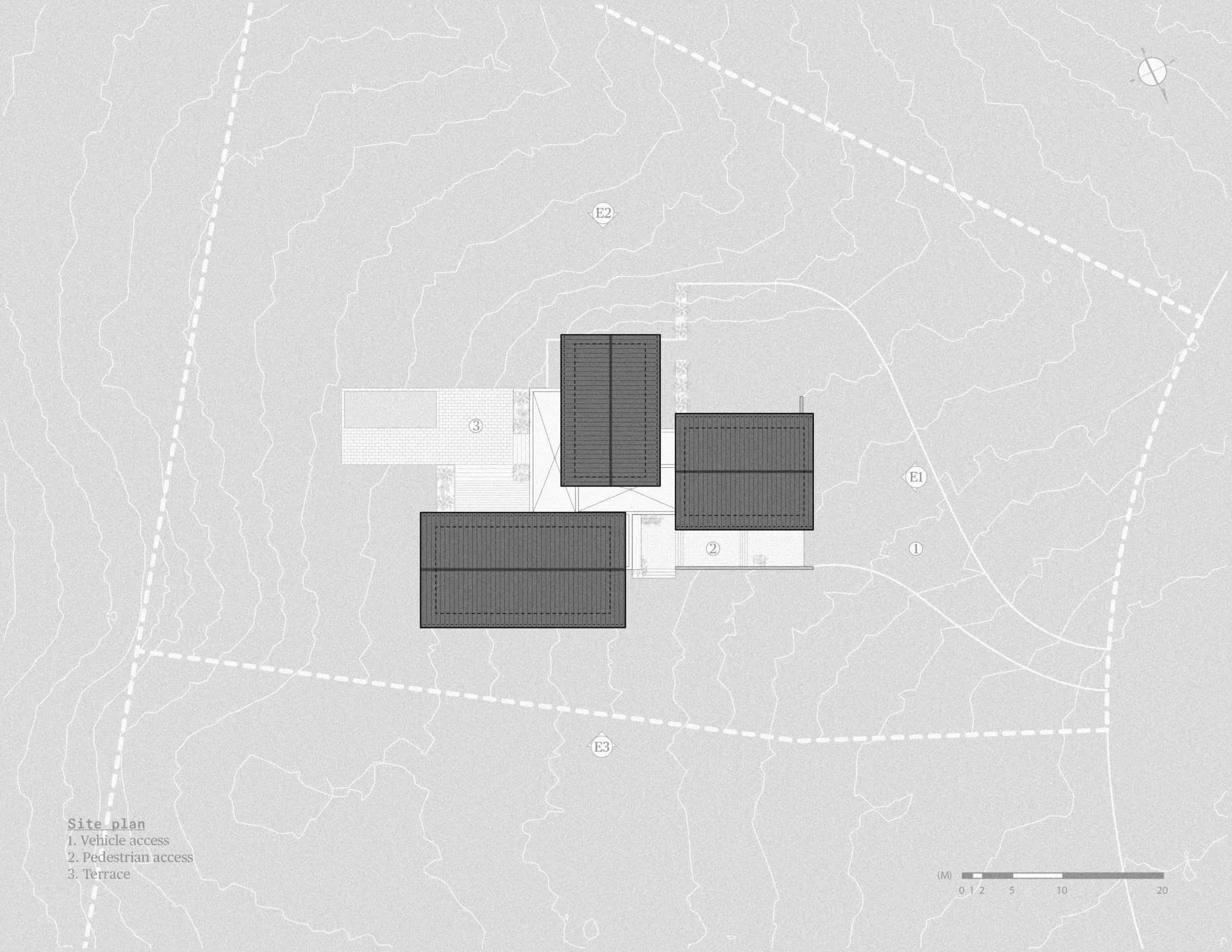 This is an illustrated view of the house and its roof structures and proximity.