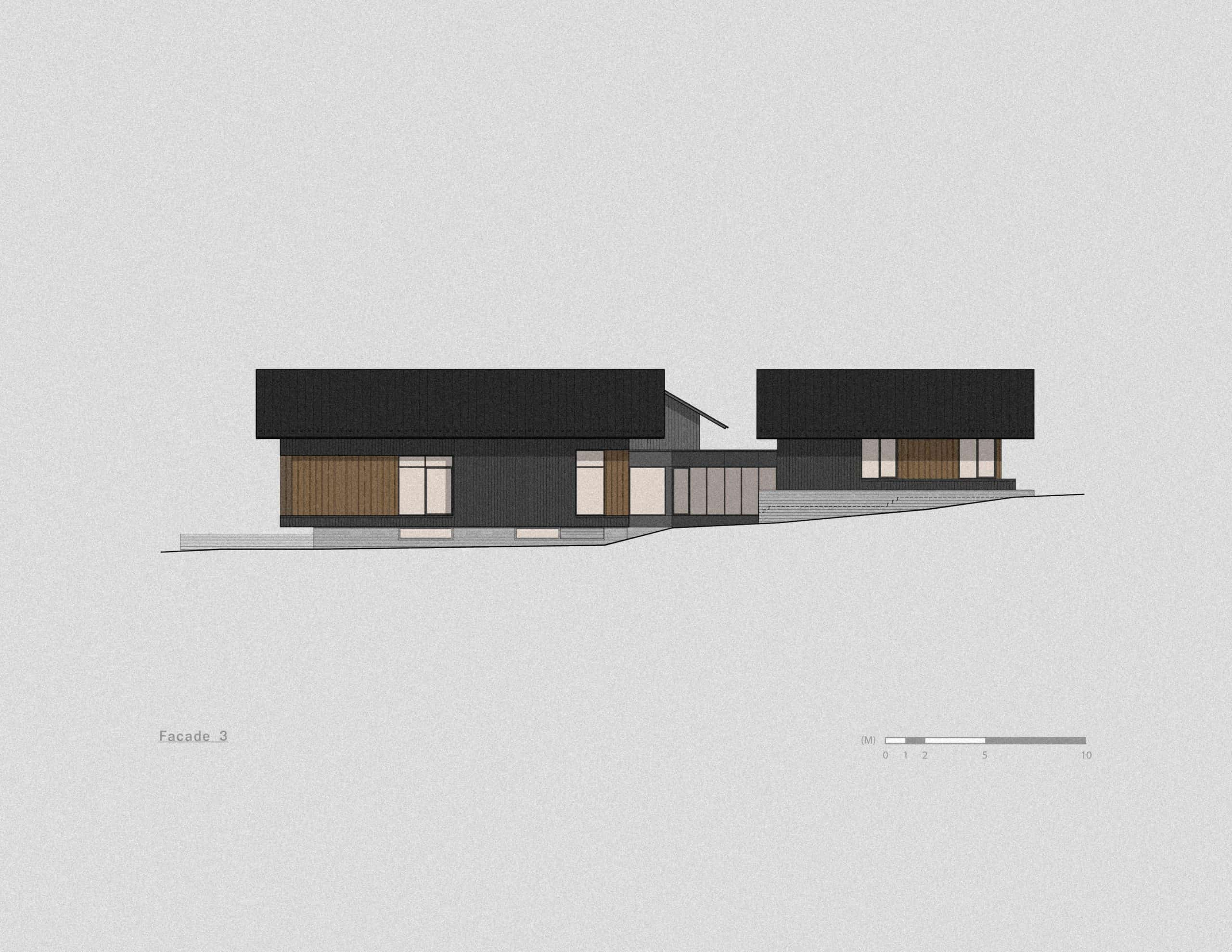 This is an illustrated look at the side elevation of the house.