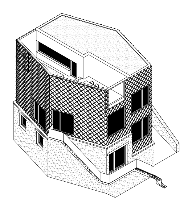 This is an illustration of the house's elevation showcasing the textured walls and windows.