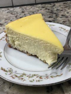 A slice of basic cheesecake.