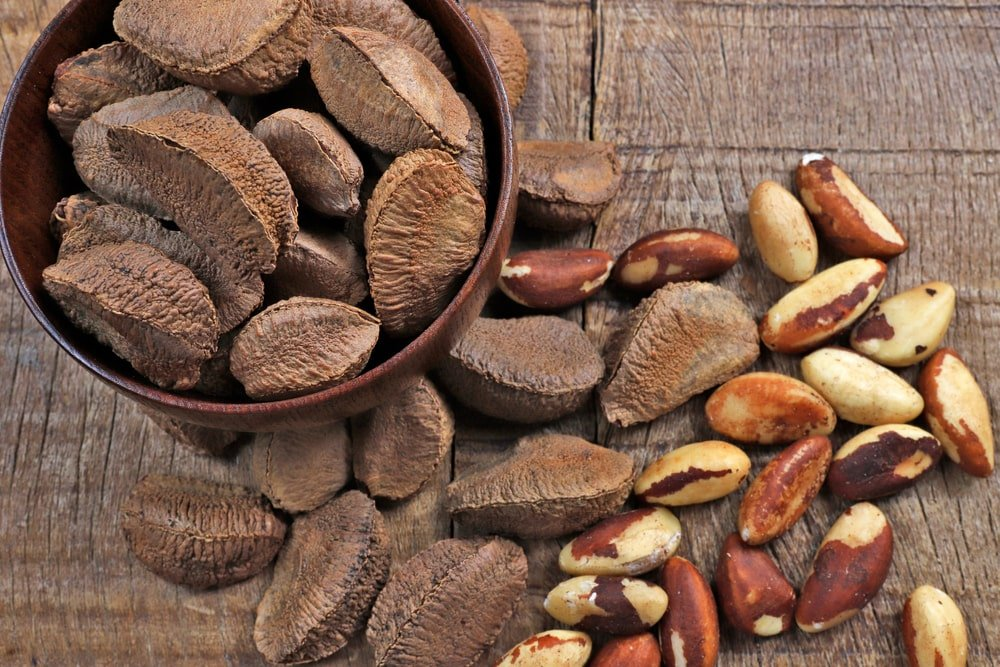 Wooden bowl filled with Brazil nuts.