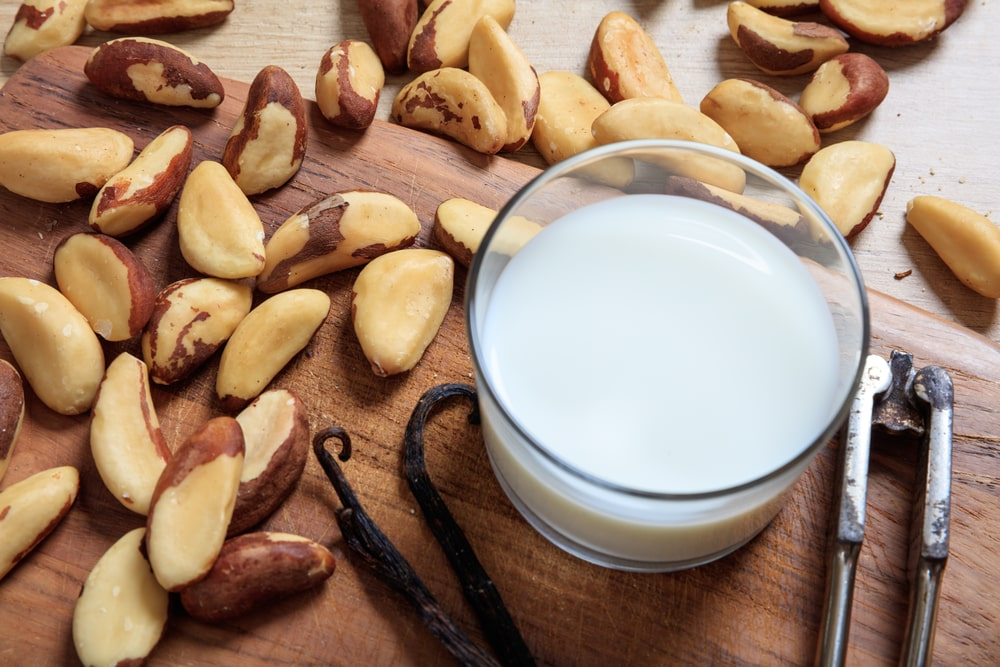 A glass of milk surrounded by Brazil nuts.