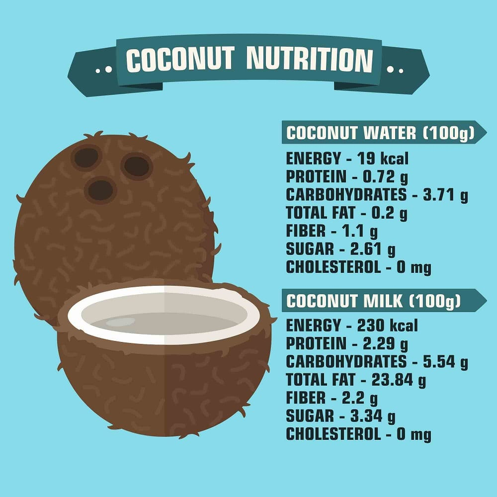 Illustration of coconut nutrition facts.