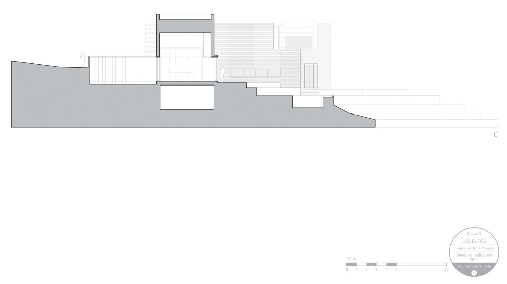 This is an illustration of the coupe elevation of the house featuring the supports and sections of the house.