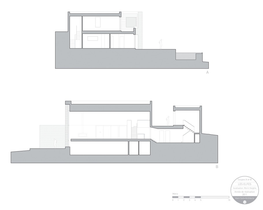 This is an illustration of the coupe elevation of the house featuring the supports.