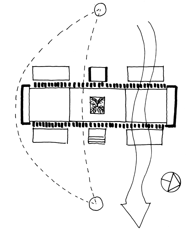 This is an illustrative diagram of the house showcasing the capability of the house to let air pass through.