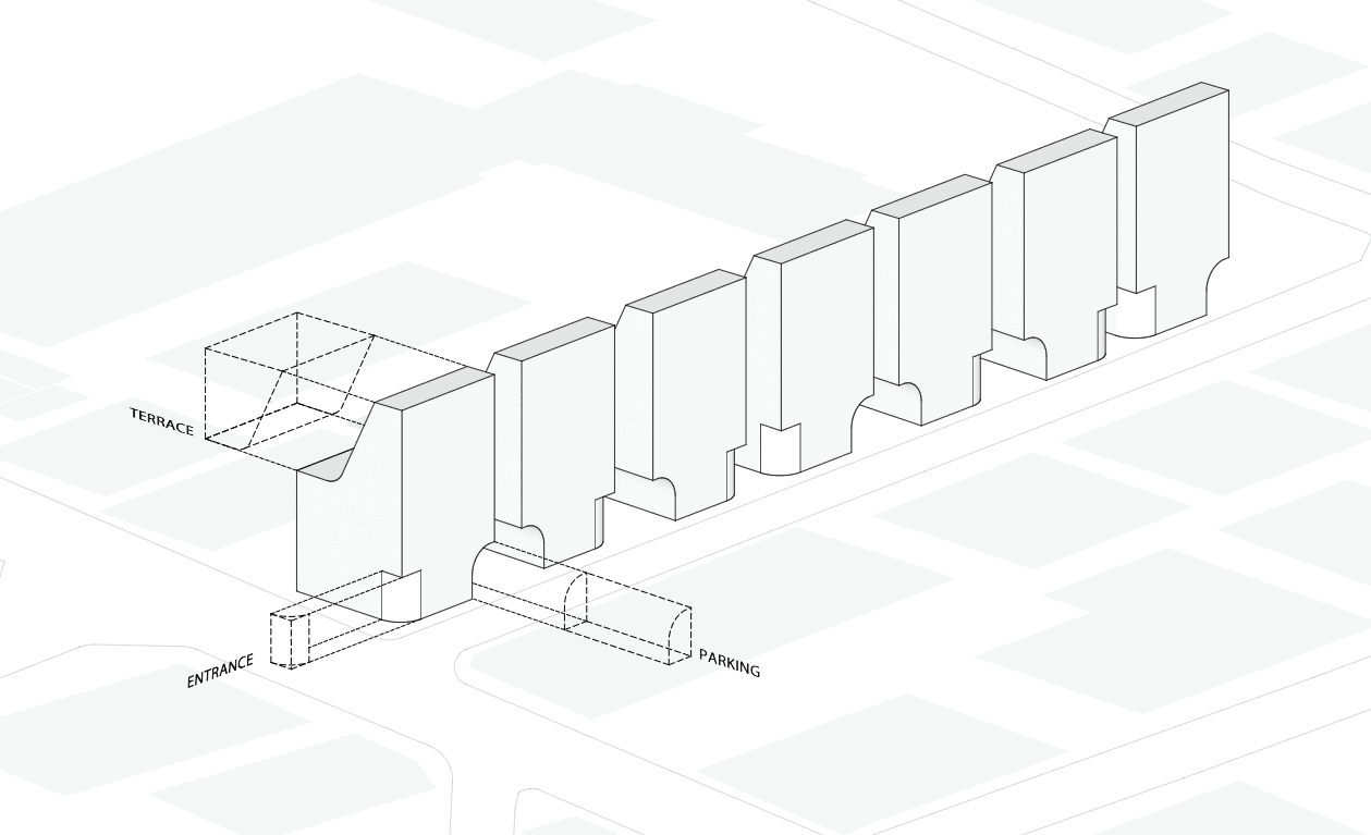 This is another illustrative diagram of the house showcasing its unique shape.