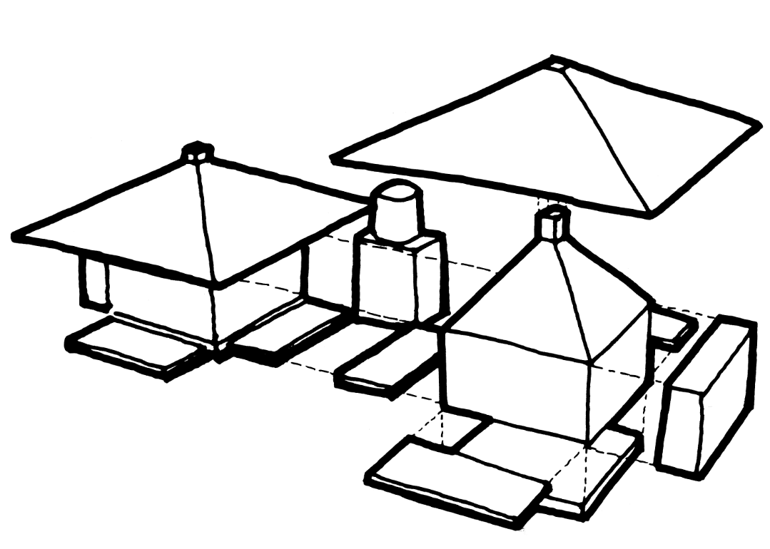 This is an illustrative diagram of the house construction and assembly.