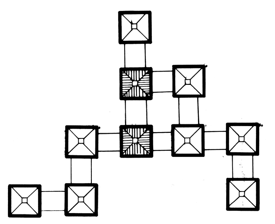 This is an illustrative diagram of the community capability of the houses and how they can connect to other structures.